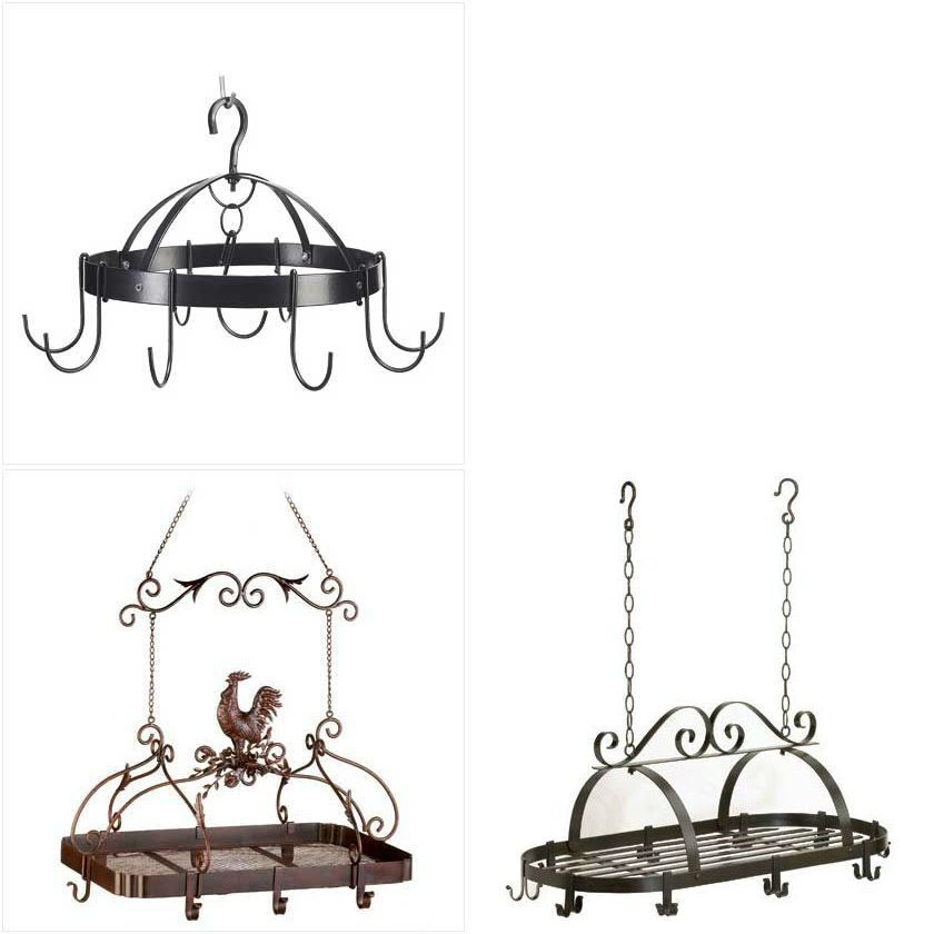 Space saving hanging kitchen pot racks wrought iron metal for Pot racks for kitchen