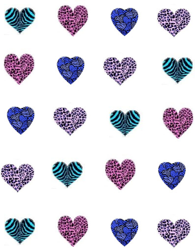 Colorful animal print hearts - photo#2
