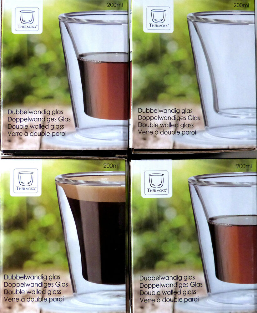 4 doppelwandige gl ser thermo tassen teetassen kaffeetassen latte macchiato glas ebay. Black Bedroom Furniture Sets. Home Design Ideas