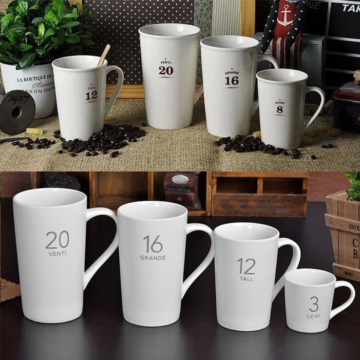 Porcelain Coffee Mug Ounces Series Ceramic Cup 3 8 12 16