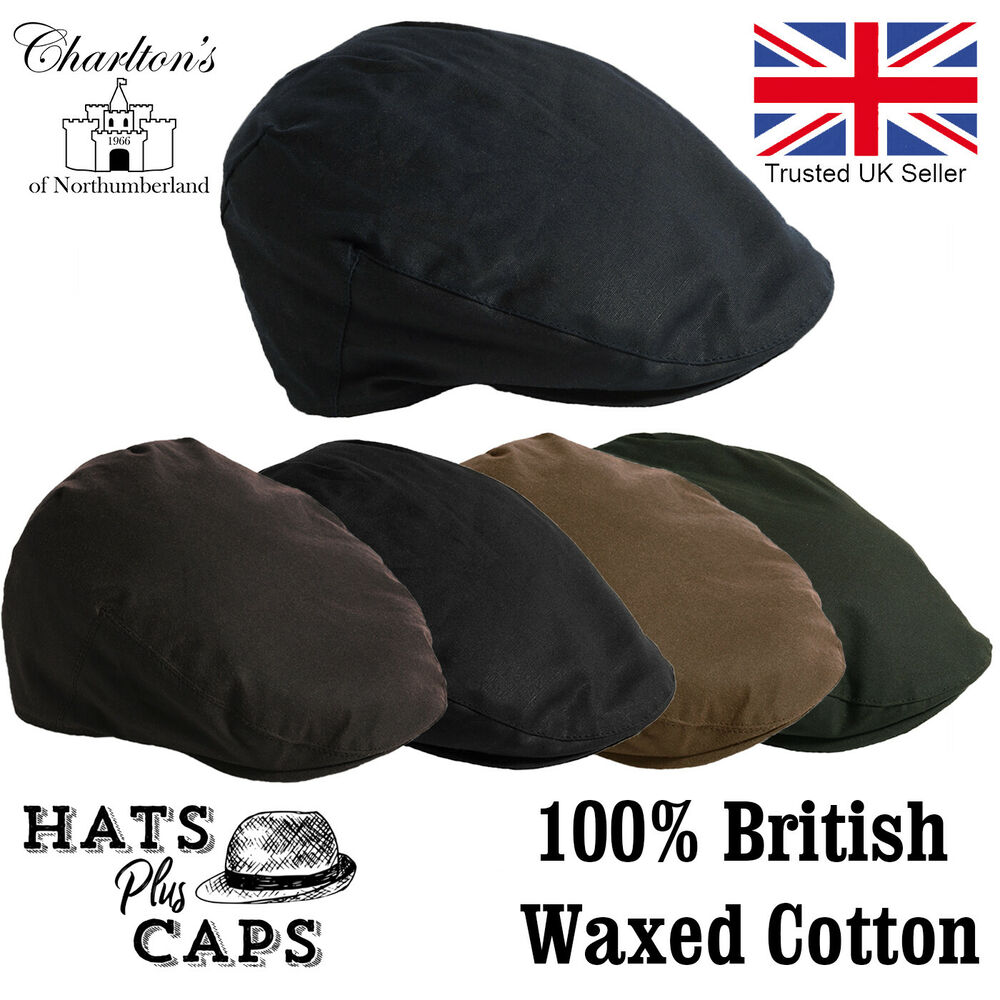4a7086759d9 Quality British Waxed Cotton Flat Cap Waterproof Blue Brown Water Repellent  Hat