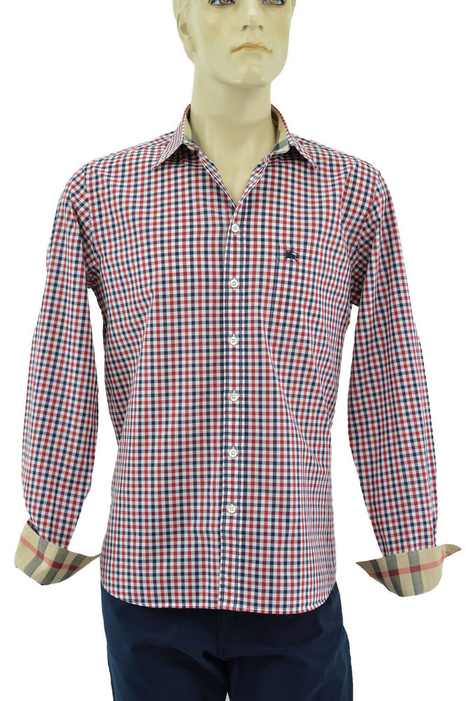 295 burberry london red blue white check plaid casual for Red and white plaid shirt mens