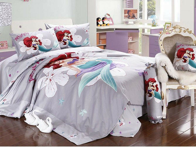 2015 New Disney Little Mermaid Bedding Set 4pc Bed Queen