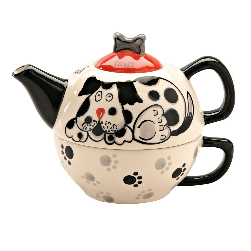 price and kensington paws for tea for one ceramic teapot cup set ebay. Black Bedroom Furniture Sets. Home Design Ideas