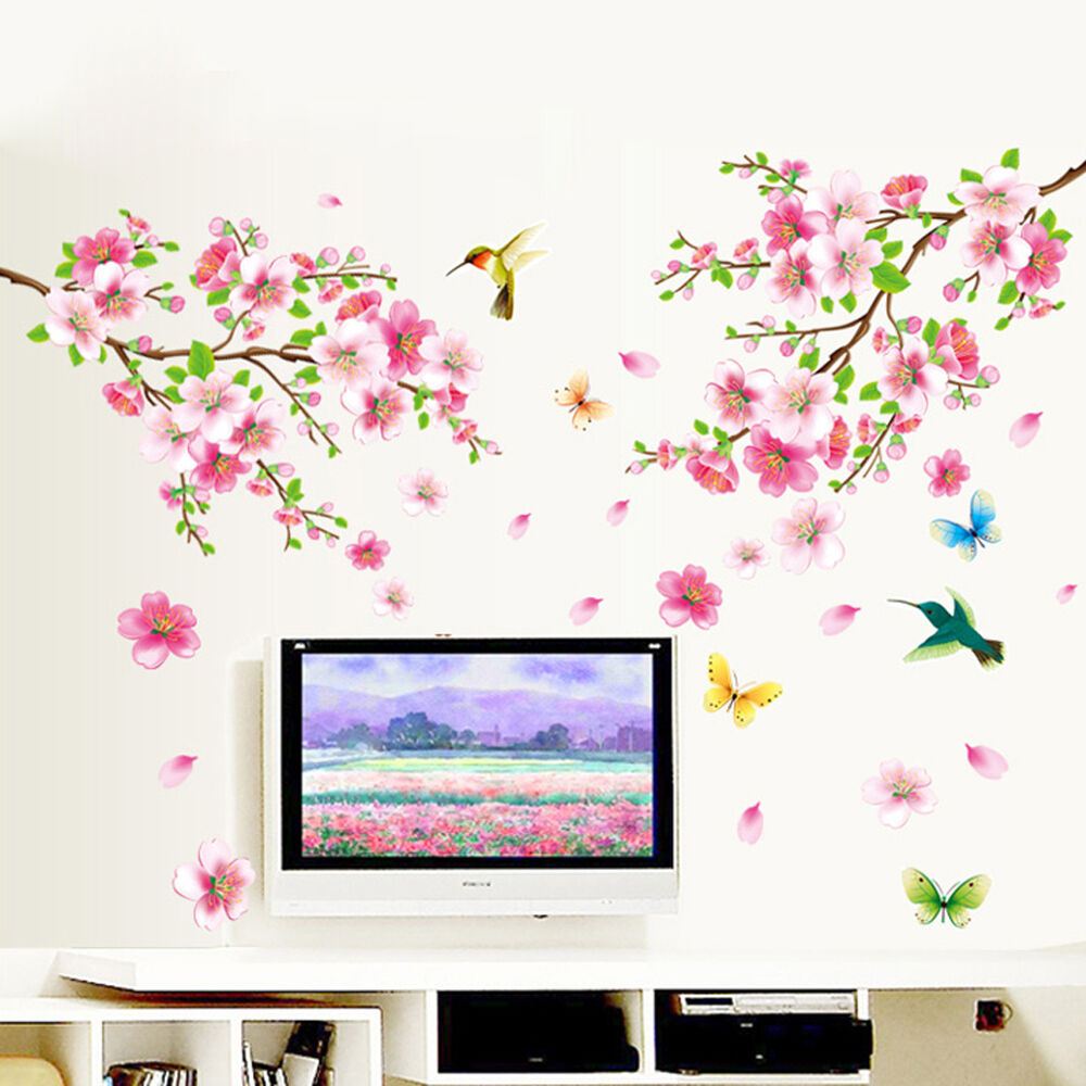 Diy peach blossom vine flower bird removable wall sticker for Art and decoration