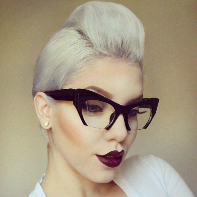 Rimless Glasses Makeup : Cat Eye Vintage Retro