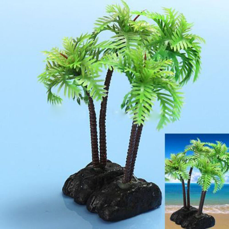 Plastic Aquarium Coconut Trees Fish Tank Plants Ornament Decoration ...