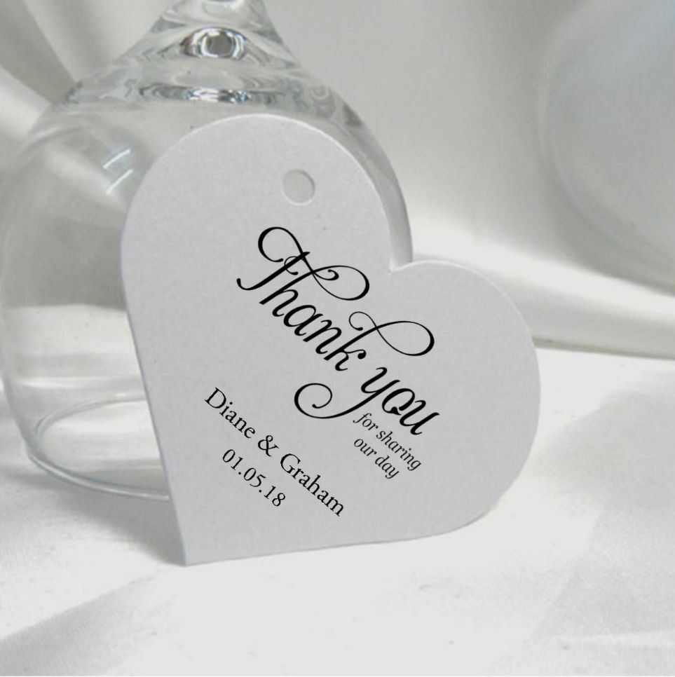 Personalised Wedding Gift Ribbon : 40 - 200 Personalised Wedding Favour Gift Tags With RIBBON (LOVE HEART ...