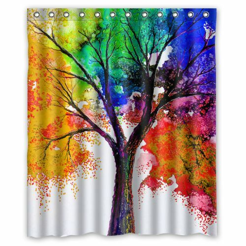 ... Colorful Tree Painting Waterproof Shower Curtain 60 x 72 Inch | eBay
