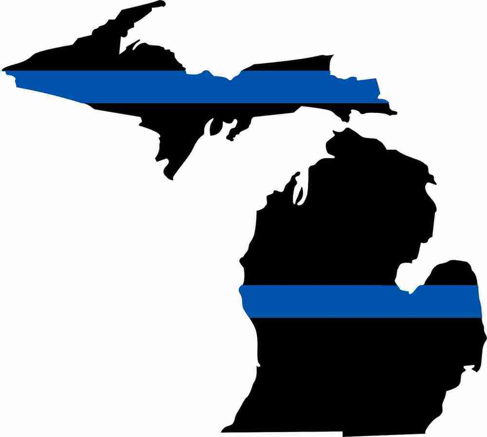 Thin blue line state of michigan decal 5 quot w x 4 5 quot t police exterior