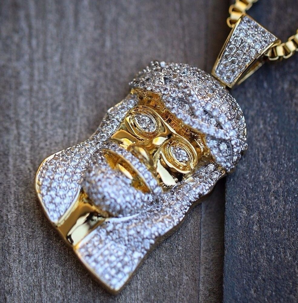 18k Gold Plated Iced Out Lab Diamond Mini Micro Jesus
