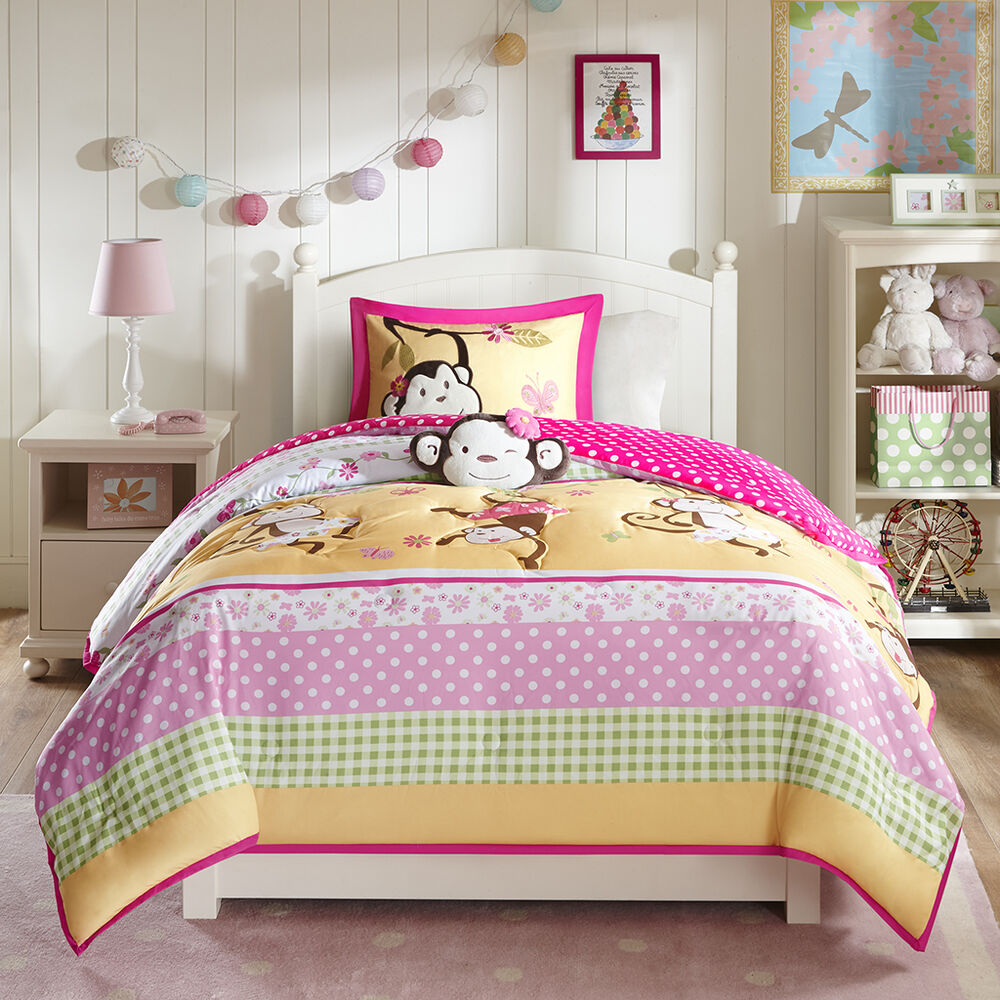 beautiful reversible modern pink green yellow girl polka dot soft comforter set ebay. Black Bedroom Furniture Sets. Home Design Ideas