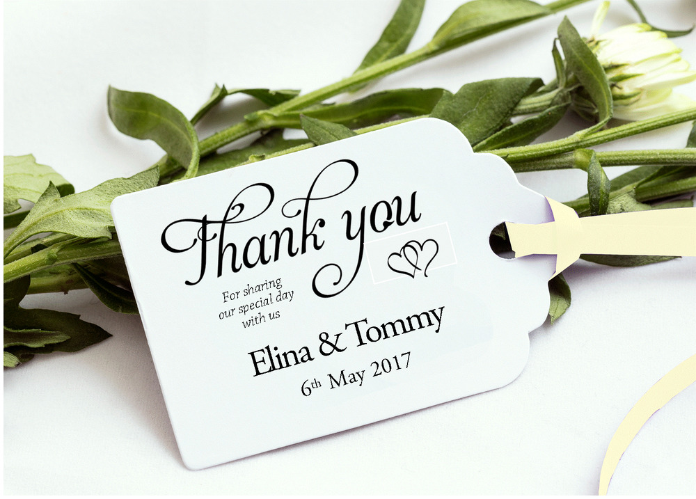 Personalised Wedding Gift Ribbon : 40 - 200 Personalised Wedding Favour Gift label Tags With RIBBON ...