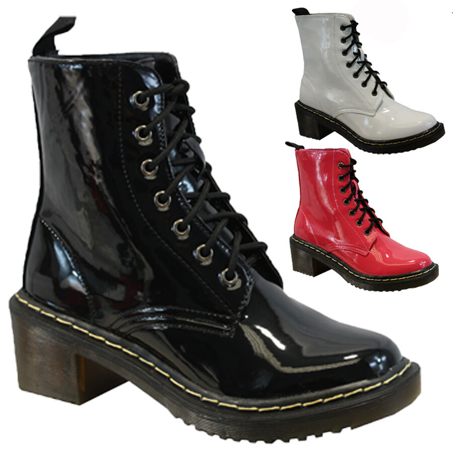 New Womens Military Vintage Army Lace Up Goth Combat Flat Retro Rock Boots UK 3-10 | EBay