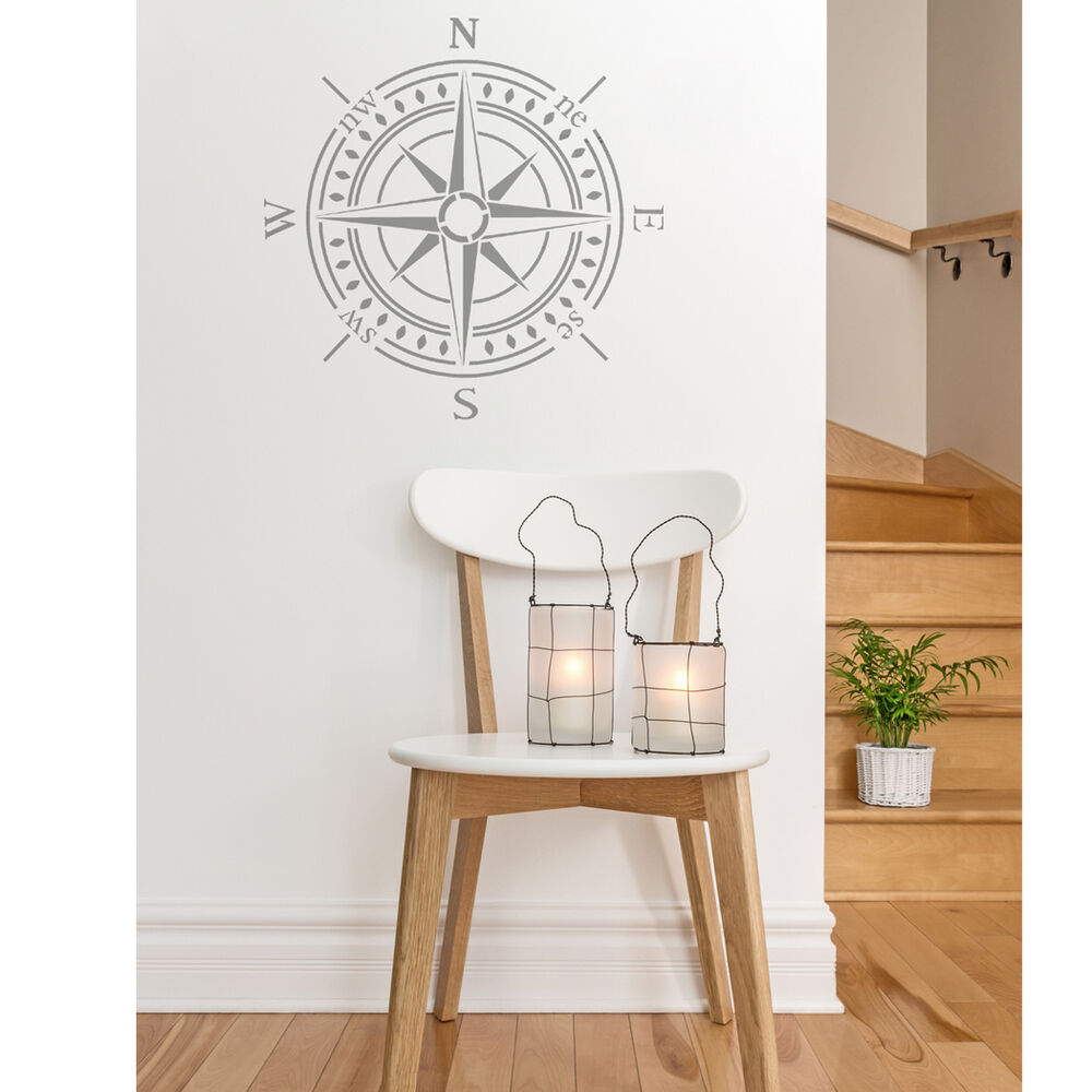 Compass bearing stencil large stencil for diy walls decor for Paint templates for walls