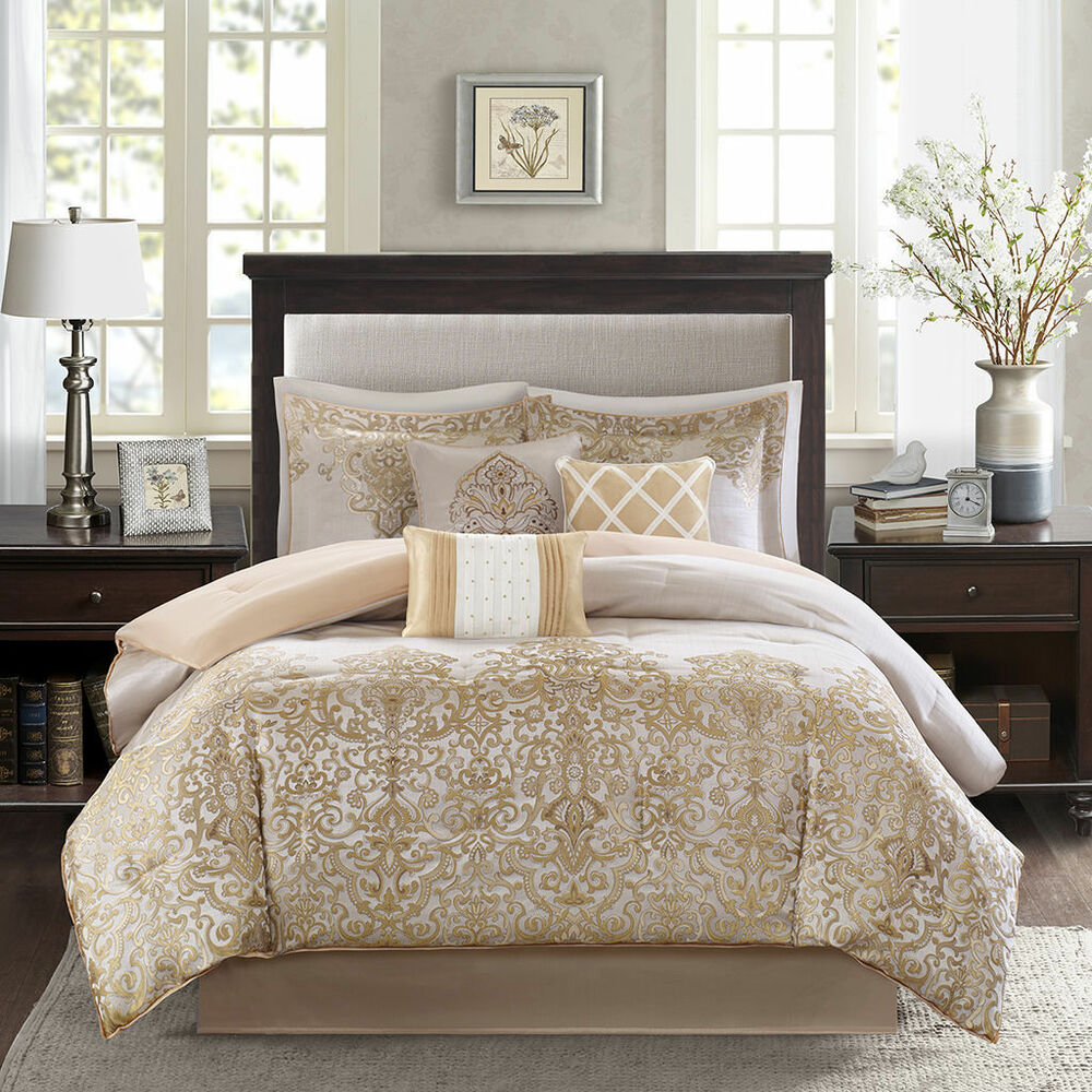 Beautiful 7pc elegant rich luxurious gold ivory white for Elegant white comforter sets