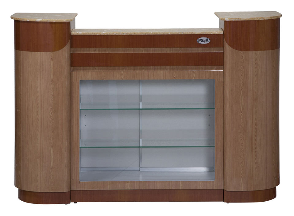 Maple/Oak Reception Counter/desk w/ Glass shelves and Display Spa