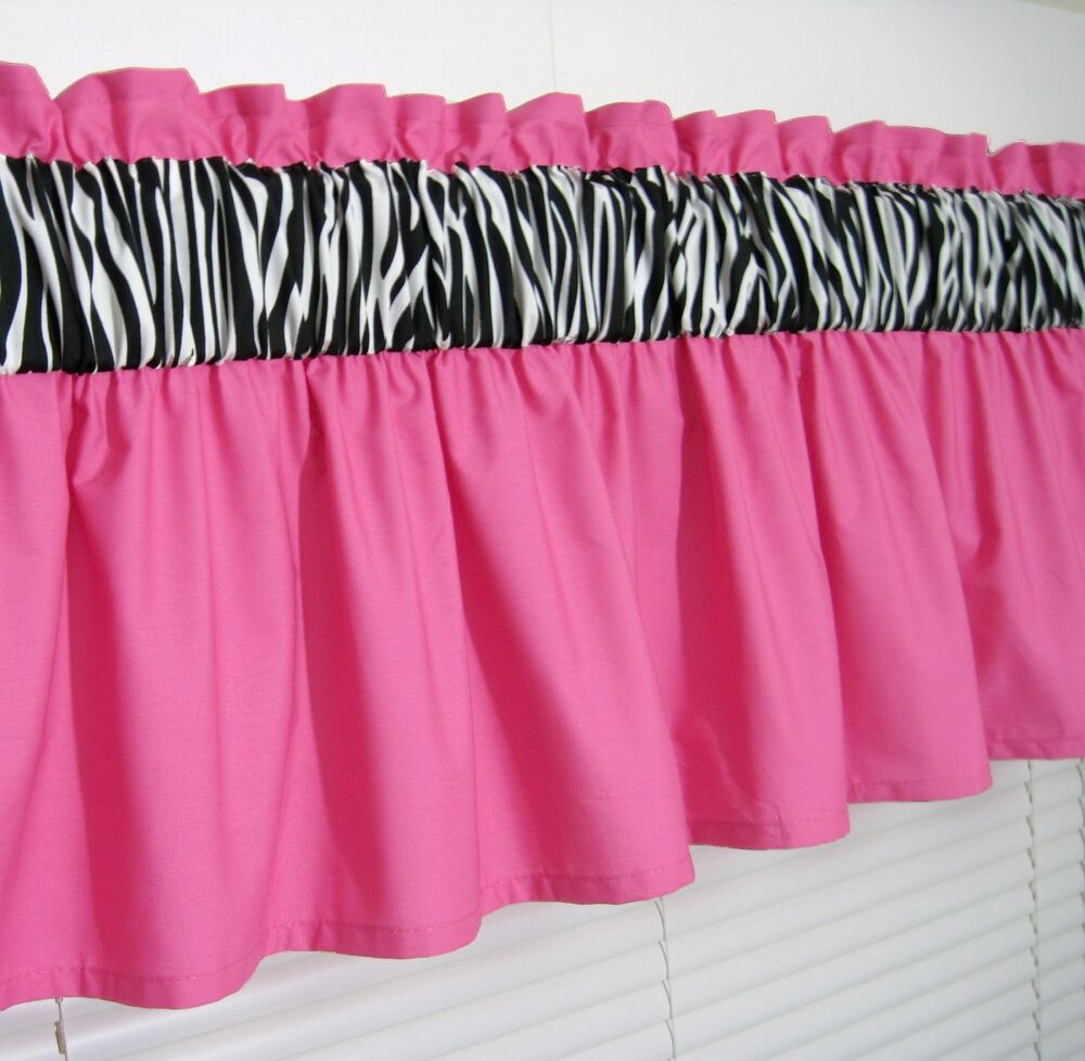 3 Inch Wide Rod Pocket Solid Pink Zebra Print Valance Window Curtain Ebay