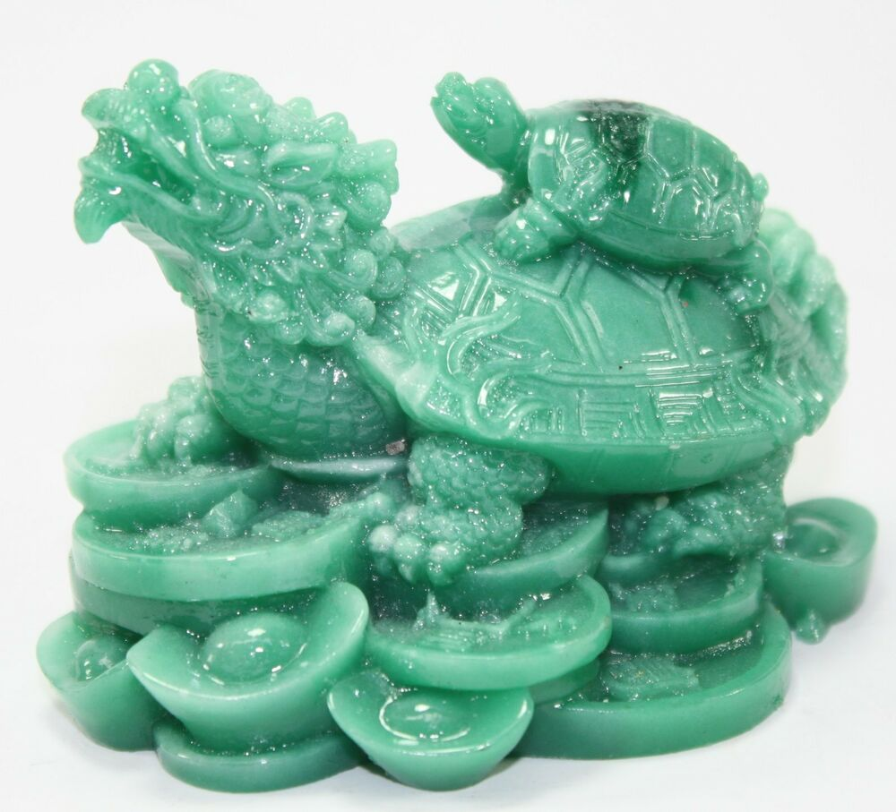 Feng Shui Green Dragon Turtle Statue Figurine Paperweight Gift Home Decor Ebay