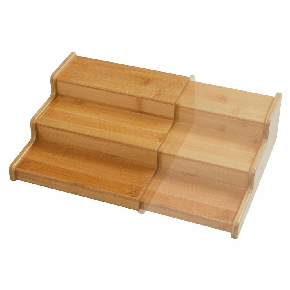 Seville Classics 3 Tier Expandable Bamboo Spice Rack Step