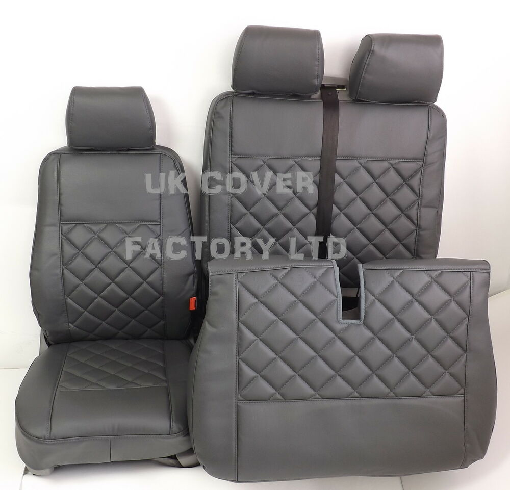 Vw transporter t5 t26 t28 t30 van seat cover grey bentley for Housse siege transporter t5