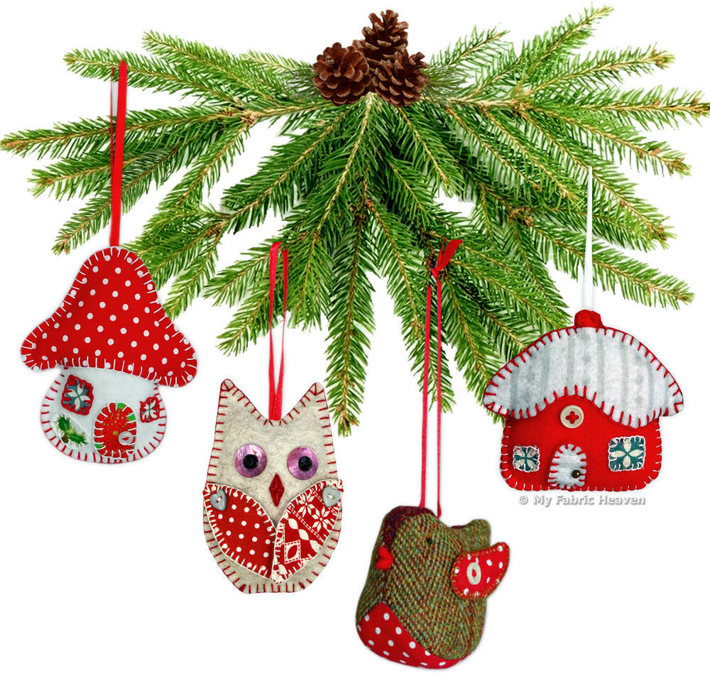 Robin/Owl/Toadstool/Cottage CHRISTMAS Tree Decoration