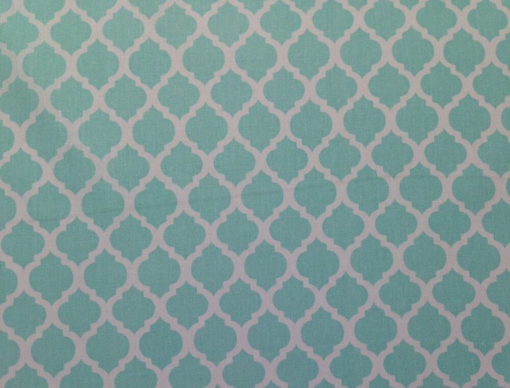 Silky azule aqua trellis cotton sheeting 100 cotton for Cotton fabric by the yard