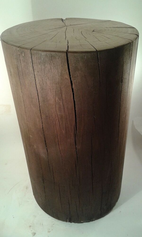 Stool Bedside Table: Rustic Poplar Stump Stool Black Walnut Stain Bedside Table