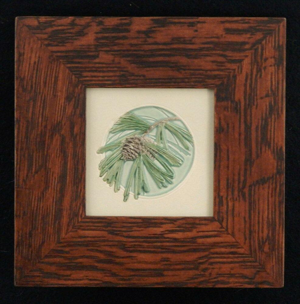 Framed arts and crafts medicine bluff pinecone tile for Arts and crafts tiles