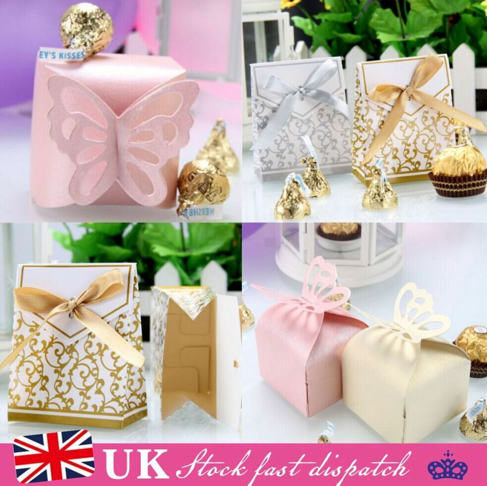 100pcs Wedding Engagement Party Cake Candy Favour Favors Gift Boxes ...