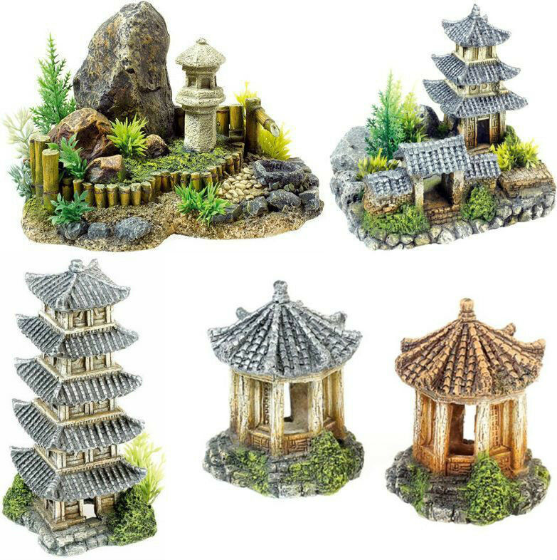 Oriental asian themed aquarium ornament fish tank for Decoration theme jardin
