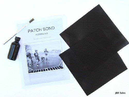 trampoline repair kit glue on patches repairs holes and tears 8x8 patches ebay. Black Bedroom Furniture Sets. Home Design Ideas