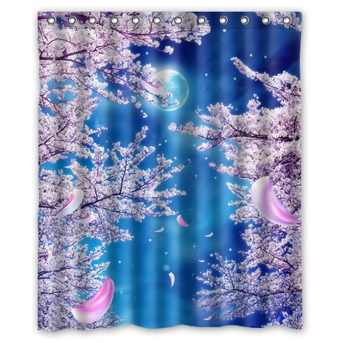 High Quality Bathroom Cherry Blossom Waterproof Shower Curtain 60 x 72 ...