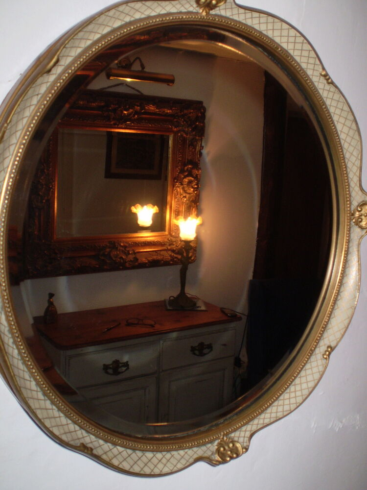 Vintage Danish Bevelled Edge Ornate Mirror Very Nice