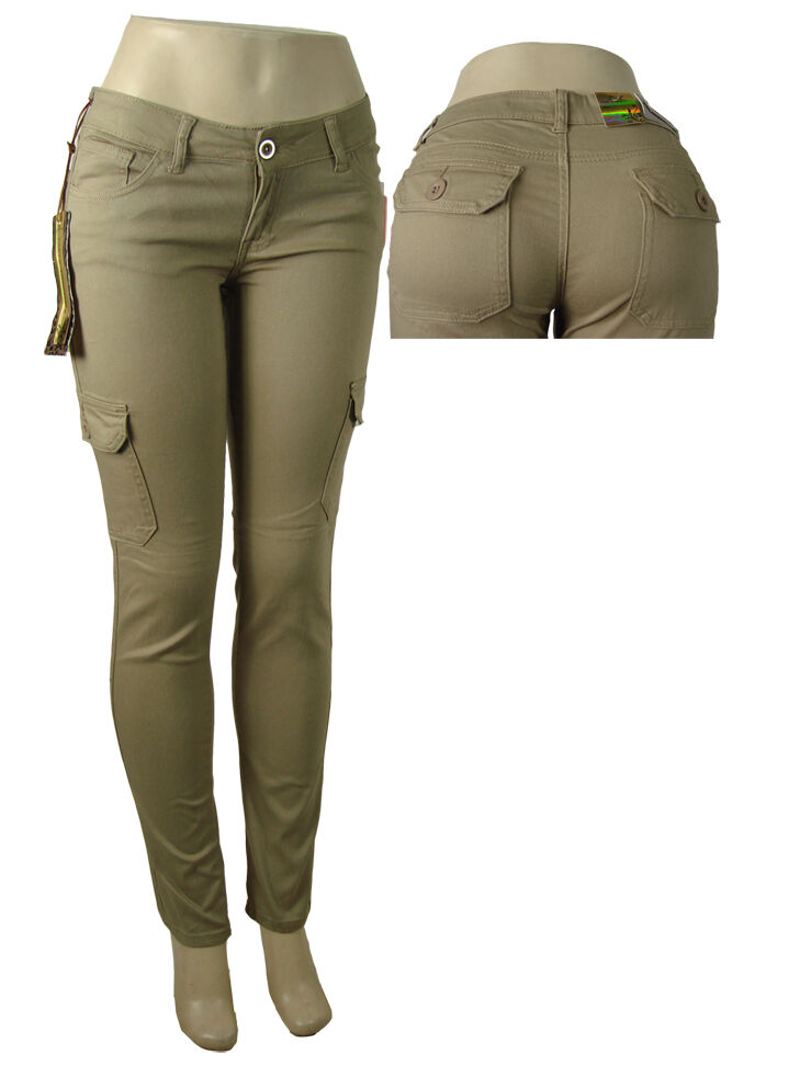 New Womens Ladies Khaki Green Brown Wide Leg Combat Trousers Cargo Jeans