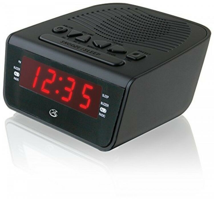 gpx c224b dual alarm clock am fm radio with red led display black new ebay. Black Bedroom Furniture Sets. Home Design Ideas