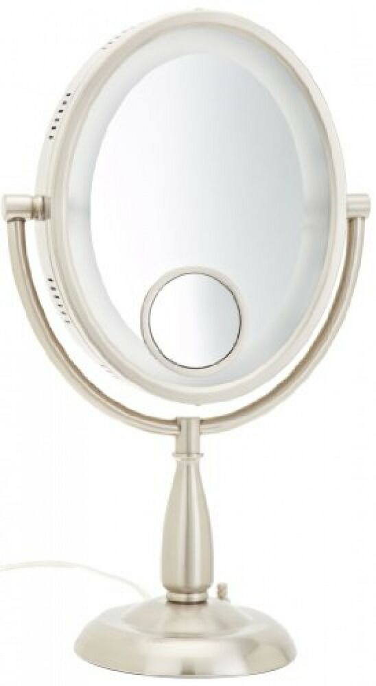 jerdon hl9510n 8 inch oval halo lighted vanity mirror with. Black Bedroom Furniture Sets. Home Design Ideas