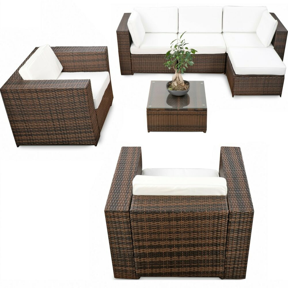 polyrattan gartenm bel lounge m bel sitzgruppe lounge hocker tisch sessel sofa ebay. Black Bedroom Furniture Sets. Home Design Ideas