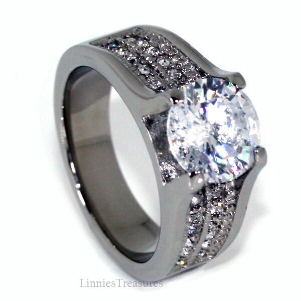 95MM Round CZ Stainless Steel Wide Band Engagement Ring Womens Size 5 10