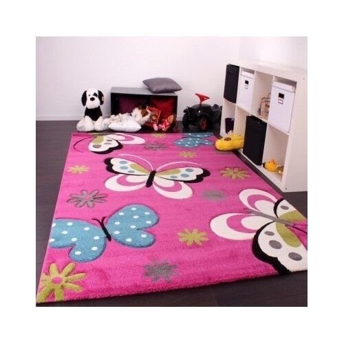 Butterfly Rug Nursery Girls Children Playroom Princess Pink Bedroom Carpet Ki