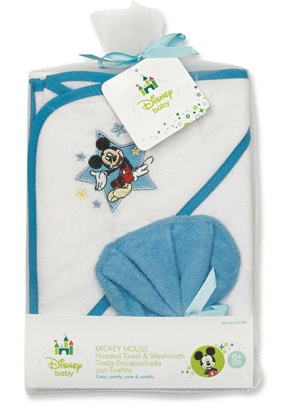disney mickey mouse hooded baby boy towel washcloth new ebay. Black Bedroom Furniture Sets. Home Design Ideas