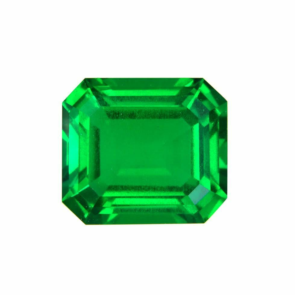 Emerald Stone Emerald: Lab Created Hydrothermal Colombian Emerald Octagon Loose