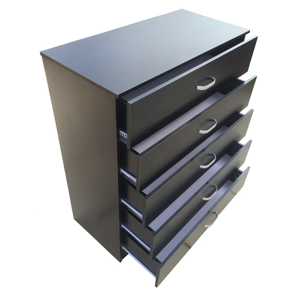 Chest of drawers 5 black antibowing drawer support - Black chest of drawers for bedroom ...