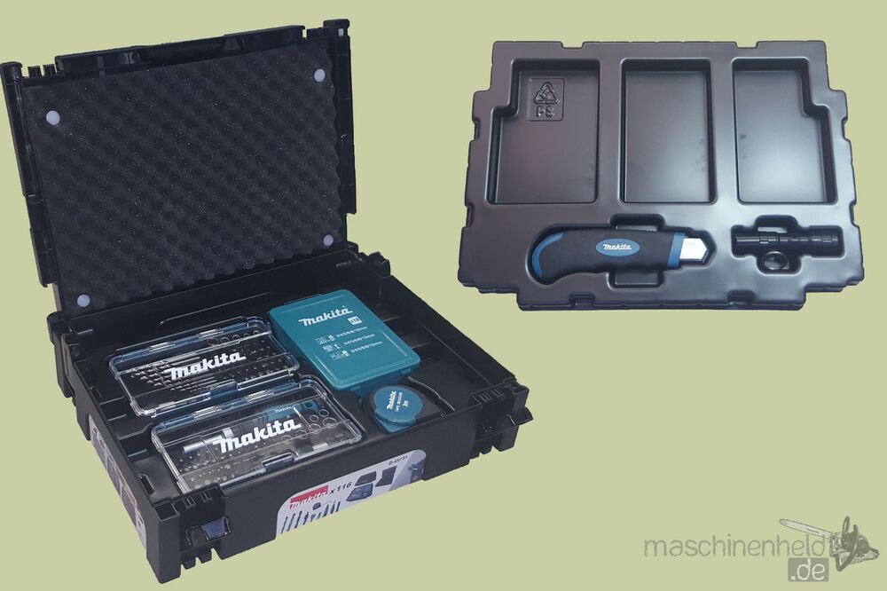 makita bohrer bit set 116 tlg messer holzbohrer bithalter b 49731 makpac ma band ebay. Black Bedroom Furniture Sets. Home Design Ideas