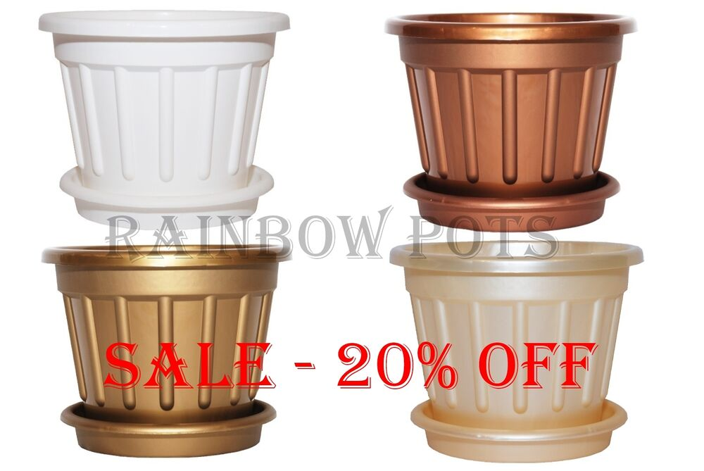 Colour Plastic Plant Pot Flower Pots Planters With Saucer