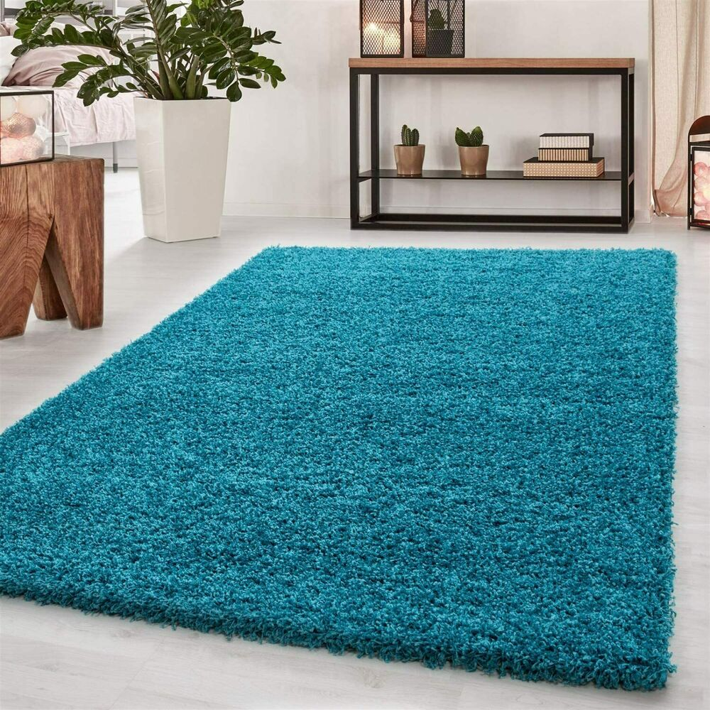 LARGE SMALL XL SIZE SHAGGY MODERN TEAL BLUE TURQUOISE RUGS