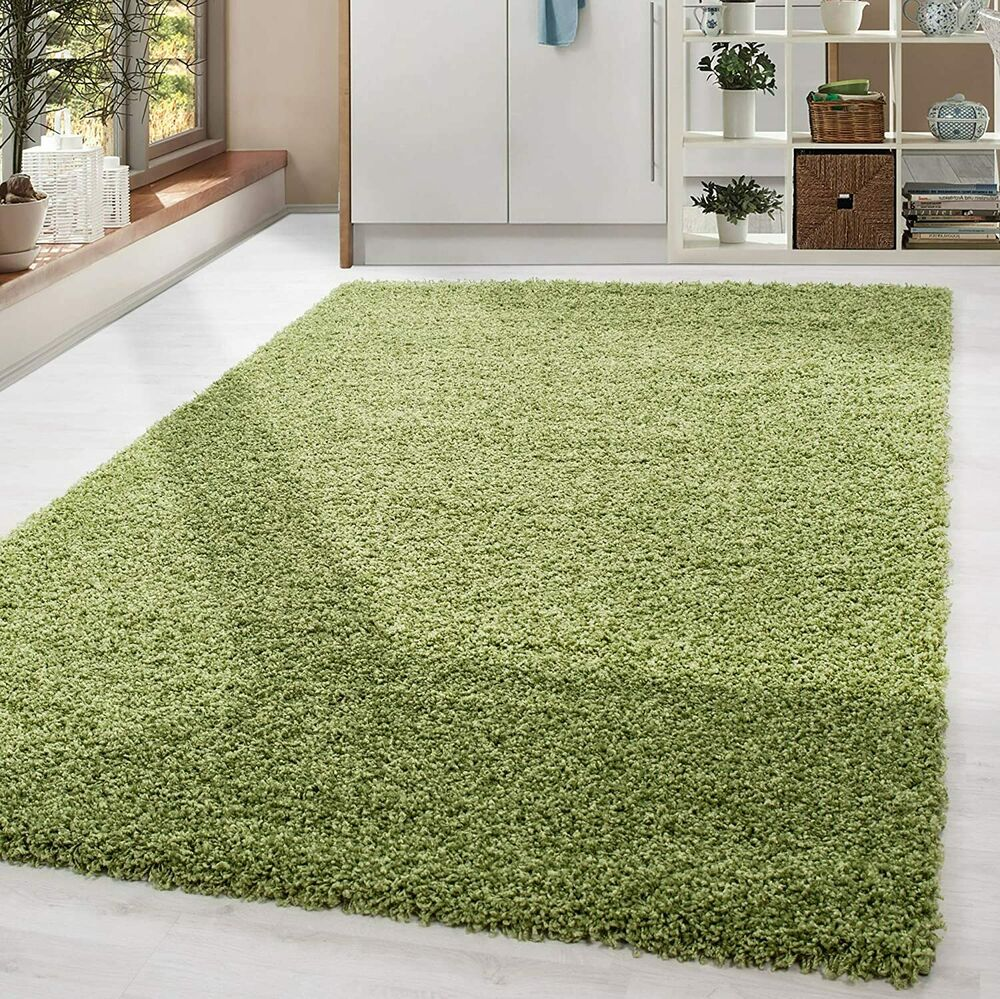 Lime Green Overdyed Rug: MODERN LIME GREEN SOFT SHAGGY NON SHED PILE PLAIN RUG