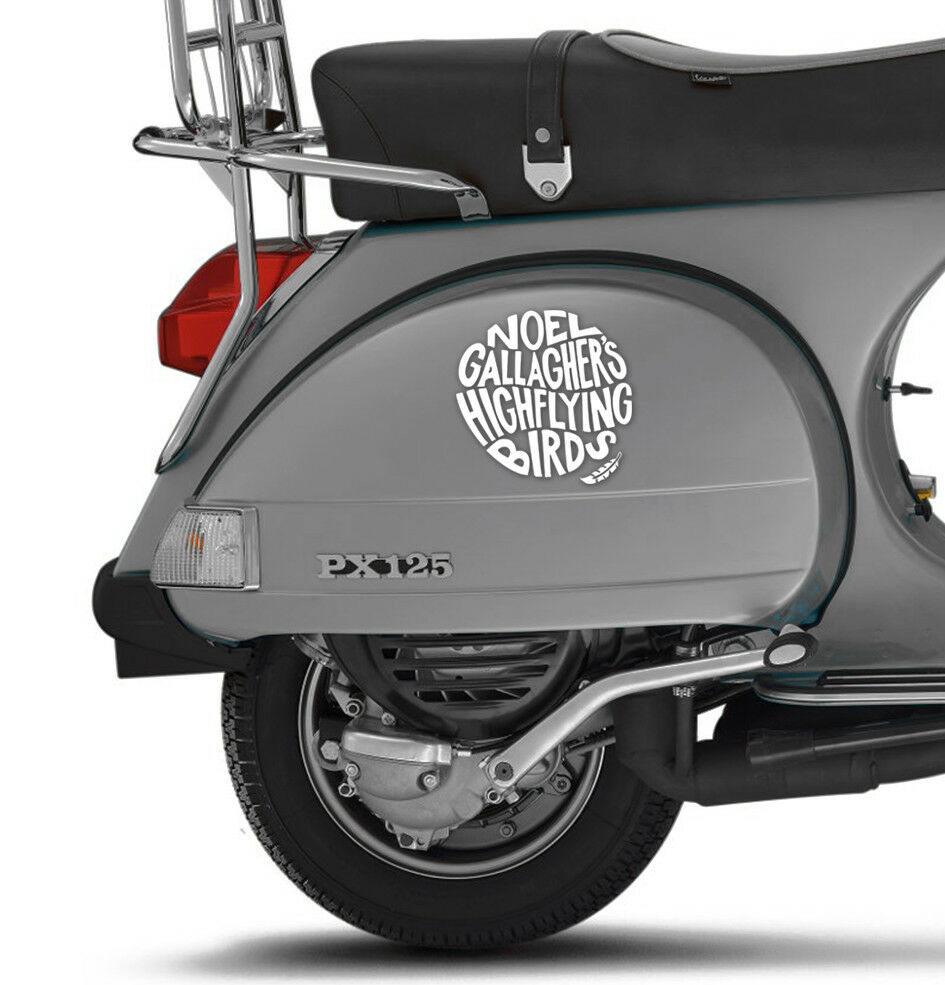 Noel gallaghers high flying birds decal fits vespa side panel white scooter ms1 ebay