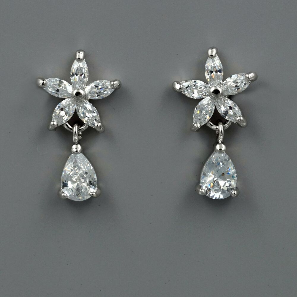 Wedding Earrings White Gold: 18K White Gold Plated Cubic Zirconia CZ Flower Wedding