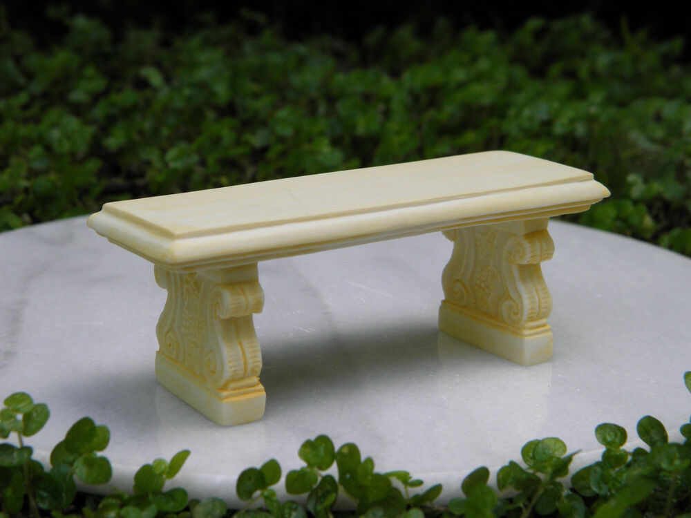 Miniature Dollhouse Fairy Garden Furniture Ivory Resin Bench New Ebay